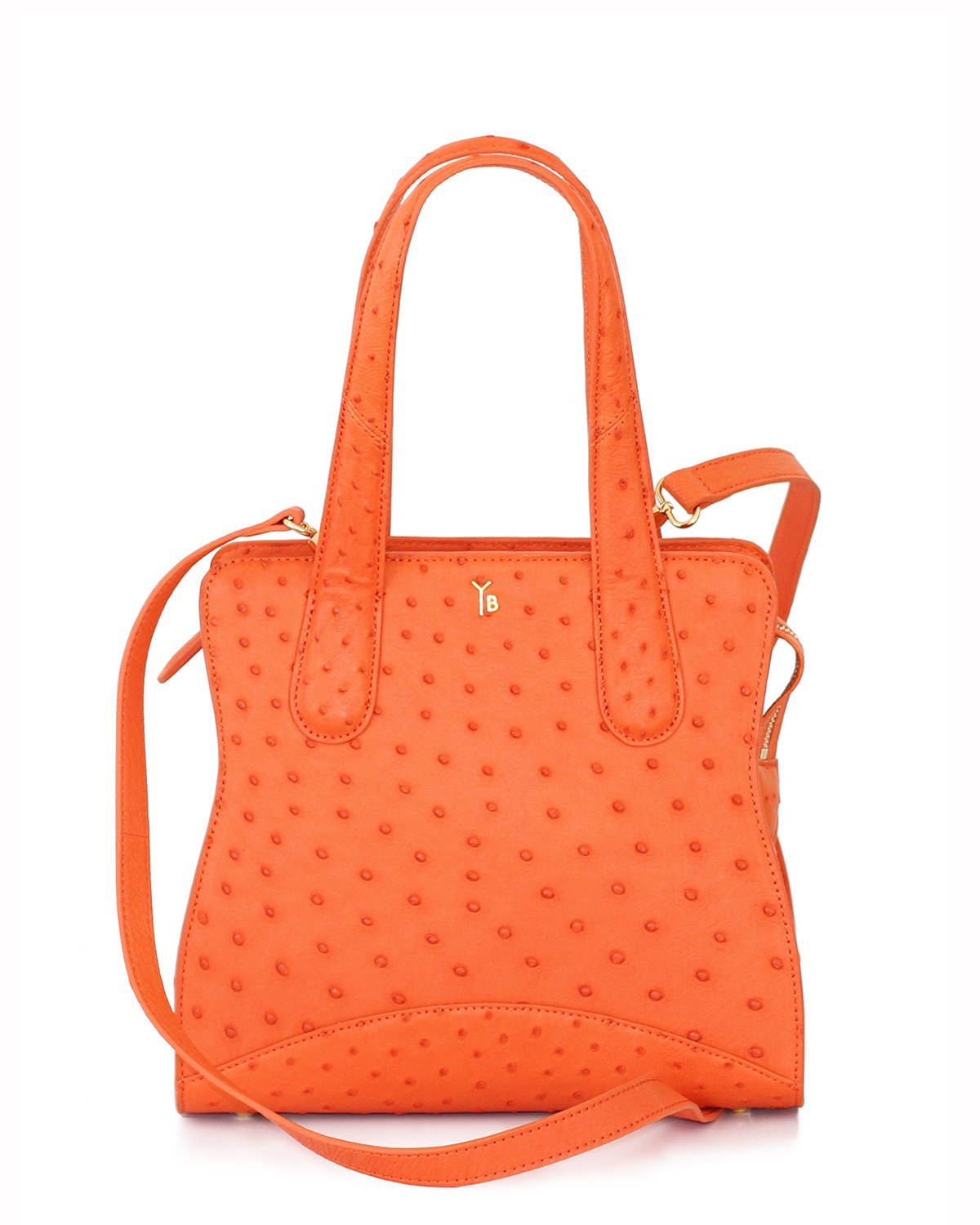 True Orange Ostrich Genuine Sustainable Adam Small Tote Yara Bashoor with Long Shoulder Strap