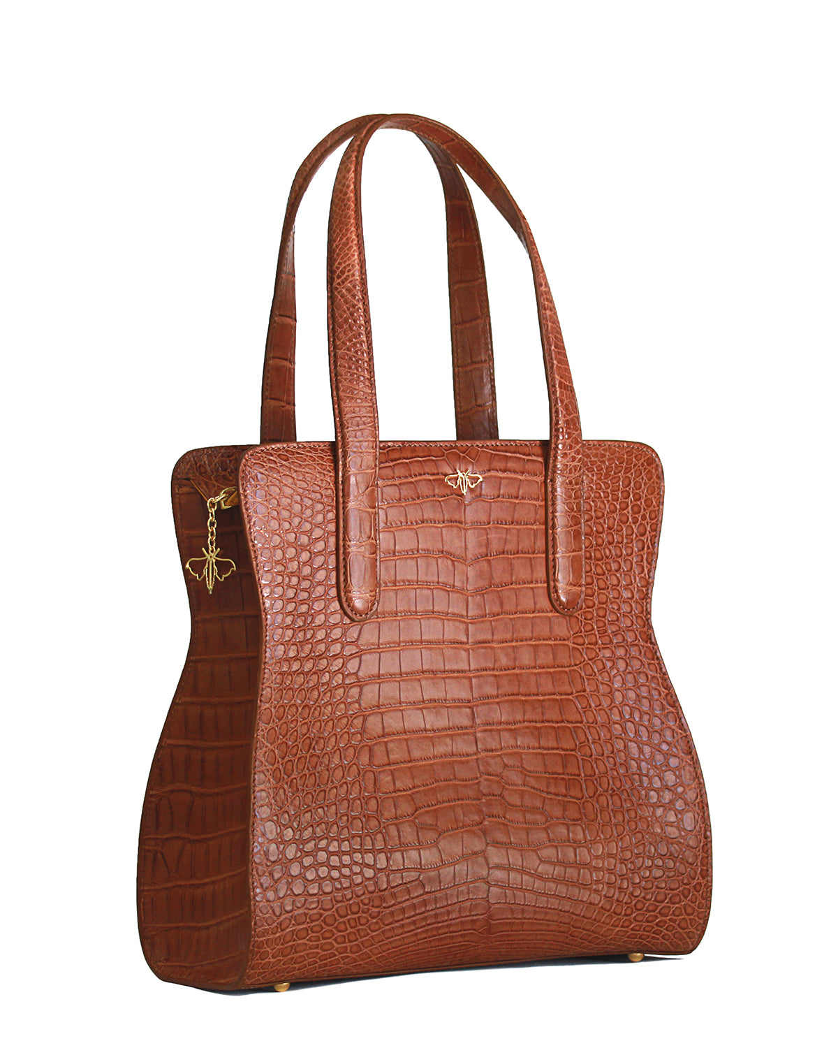 Yara Bashoor Adam Tote Handbag Brown Cava Yellow Gold Genuine American Alligator Angle View