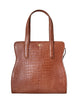 Yara Bashoor Adam Tote Handbag Brown Cava Yellow Gold Genuine American Alligator Front View