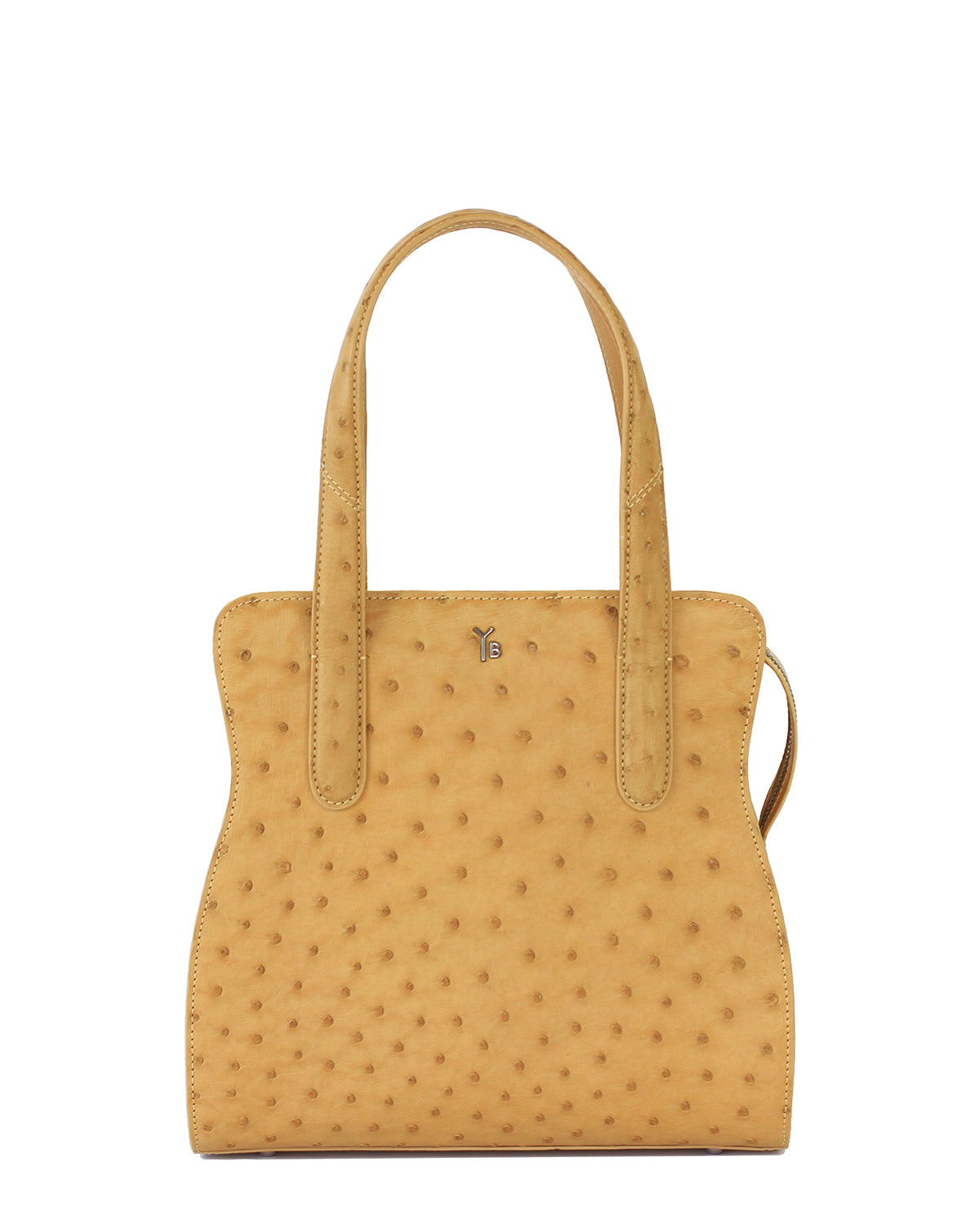 Adam YB Yara Bashoor Tote Ostrich Yellow Brown Light Front View