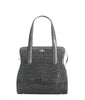 Yara Bashoor YB ADAM S TOTE Curvy Coca Cola Bottle Shape Shiny Genuine American Alligator Charcoal grey tote style called Adam front view