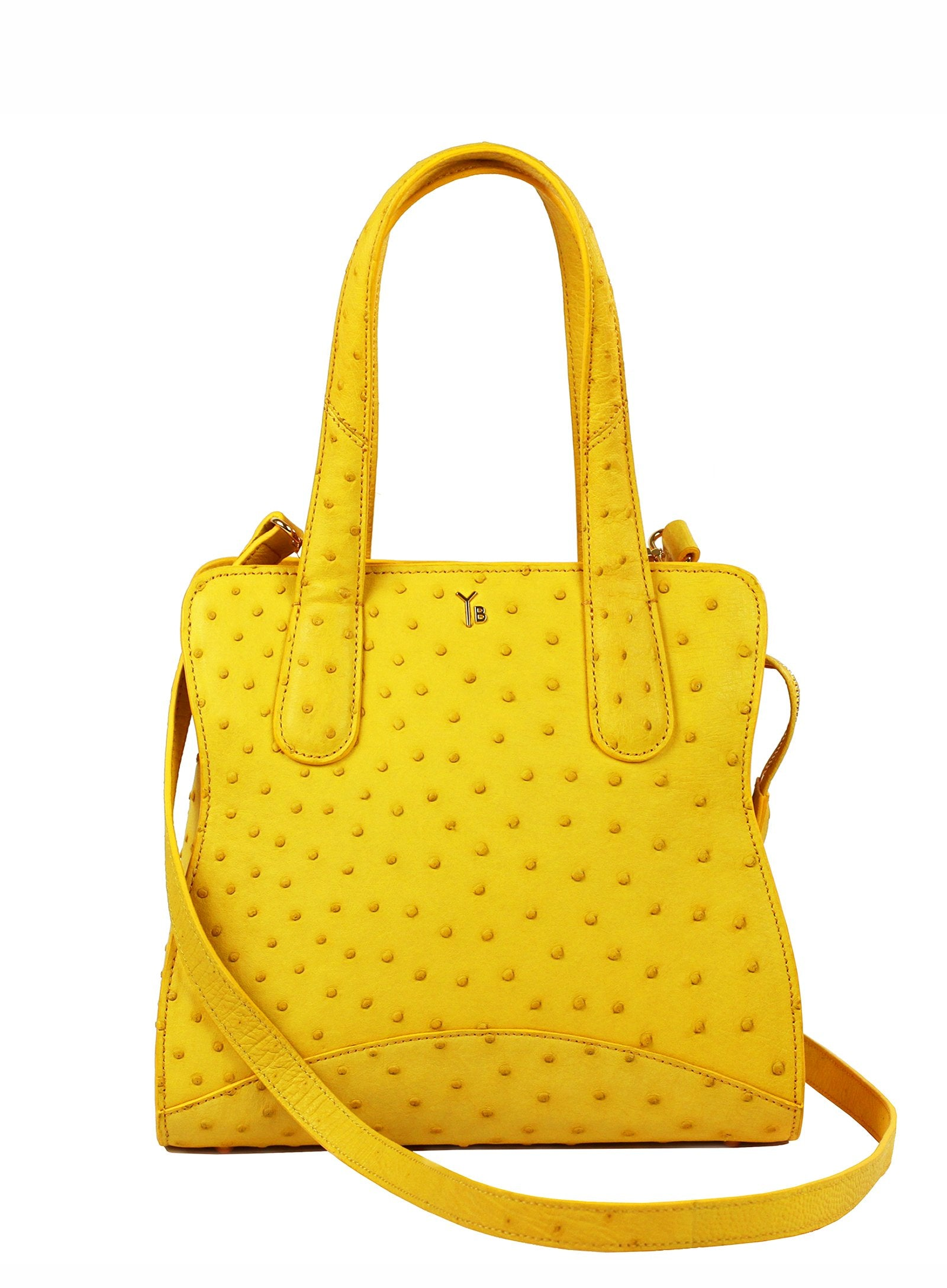 Genuine Real Ostrich Tote Bag Yellow with Long Ostrich Strap Yara