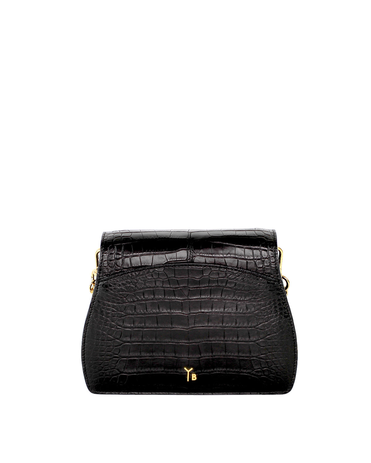 YB Black Alligator Benny Shoulder Handbag Yara Bashoor Yellow Gold Back View