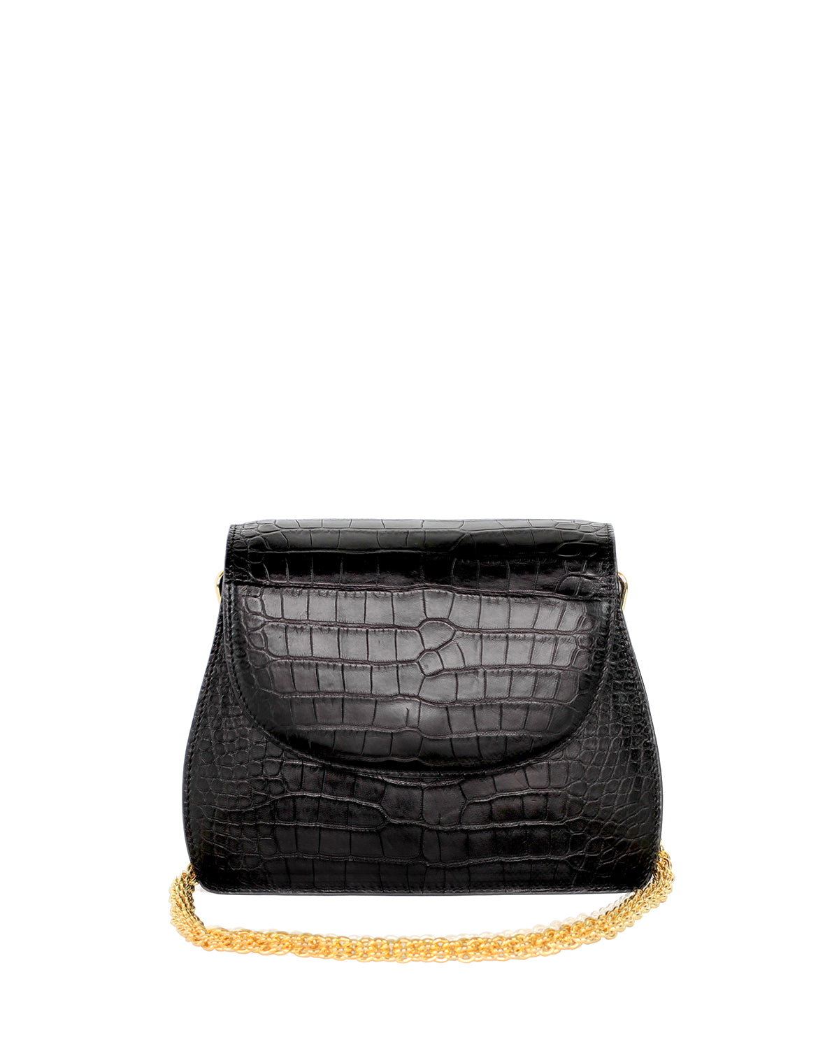 YB Black Alligator Benny Shoulder Handbag Yara Bashoor Yellow Gold Front View