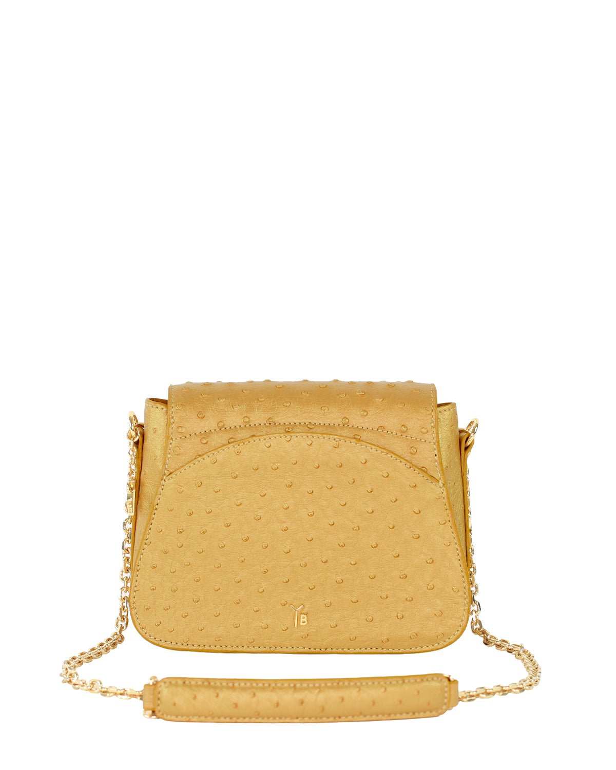 YB Benny Shoulder Handbag Gold Ostrich Yara Bashoor Back View
