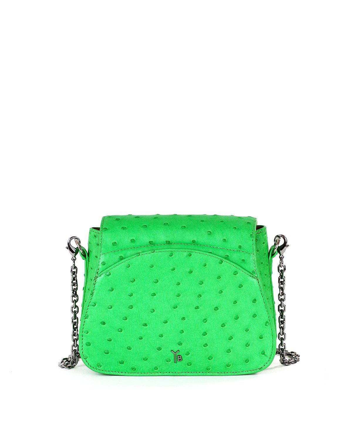 Genuine Real Ostrich Sustainable Crossbody Bag Handbag Bright Green Yara Bashoor Shoulder Chain Back Image