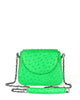 Genuine Real Ostrich Sustainable Crossbody Bag Handbag Bright Green Yara Bashoor Front Image Shoulder Chain