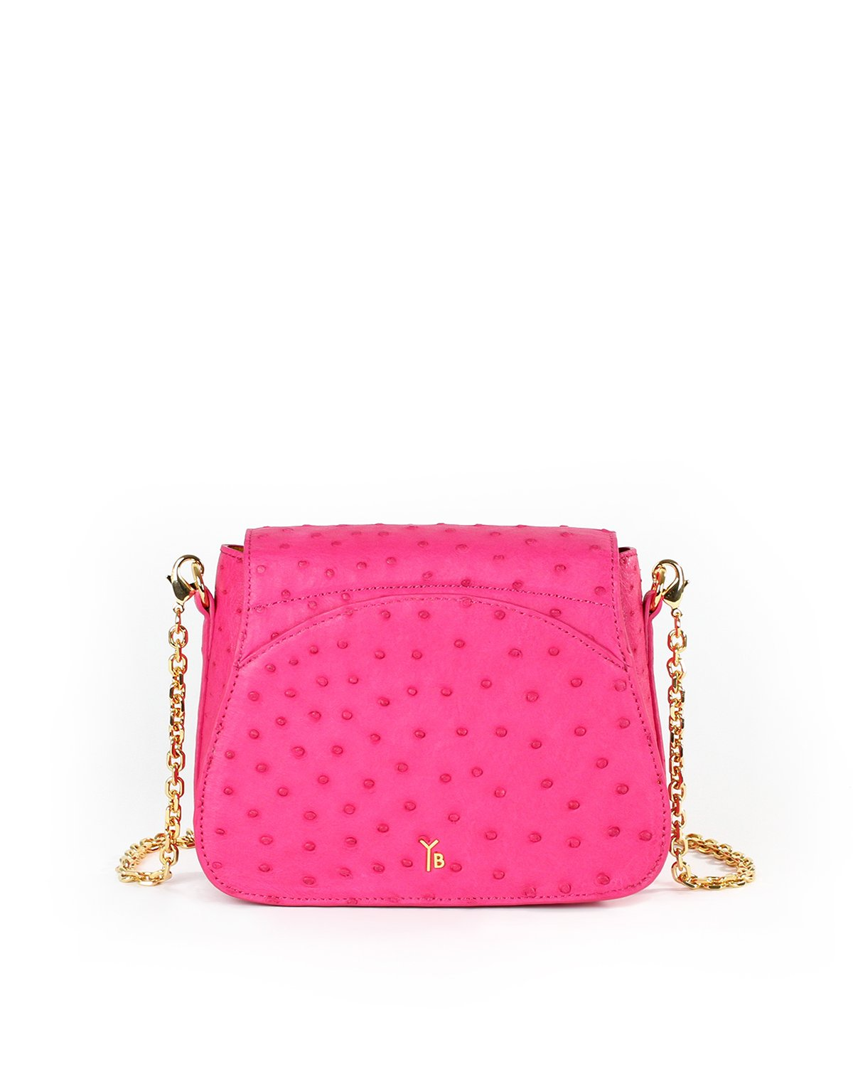 Hot Pink Fuchsia Ostrich Genuine Sustainable Crossbody Handbag Yara Bashoor Back View Back Pocket Curved top Gold Long Chain Padded Shoulder Piece