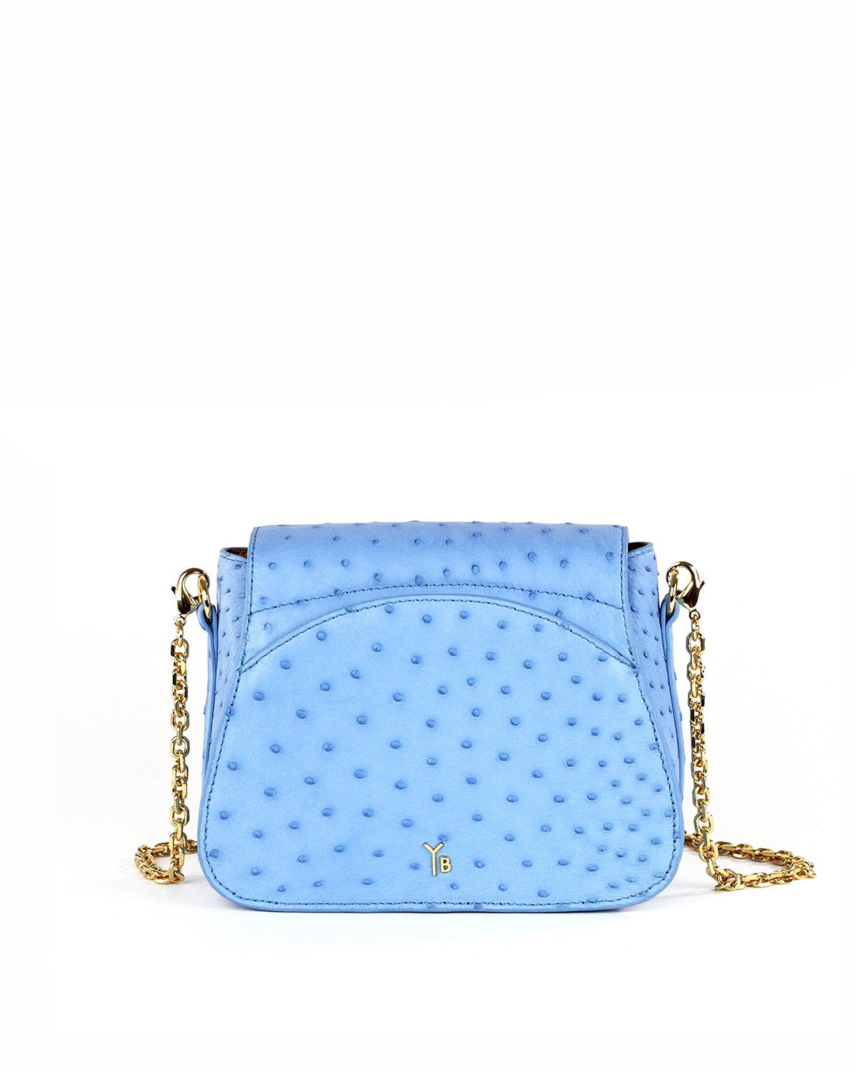 Light Cool Sky Blue Ostrich Genuine Sustainable Crossbody Handbag Yara Bashoor Back View Back Pocket Curved Top Gold Long Chain Padded Shoulder Piece