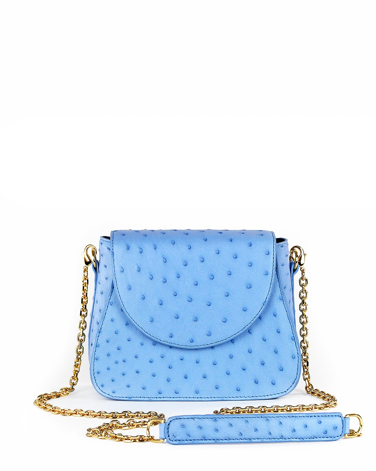 Light Cool Sky Blue Ostrich Genuine Sustainable Crossbody Handbag Yara Bashoor Front Image Gold Long Chain Padded Shoulder Piece