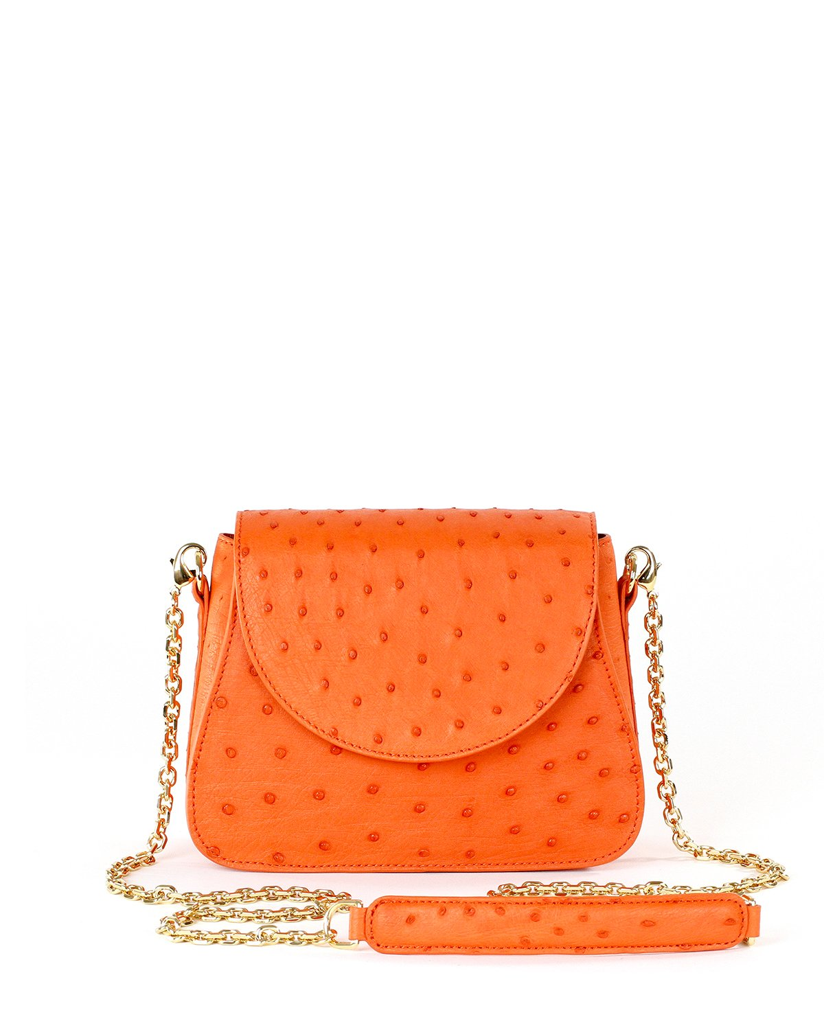 True Orange Ostrich Genuine Sustainable Crossbody Handbag Yara Bashoor Front Image Gold Long Chain Padded Shoulder Piece