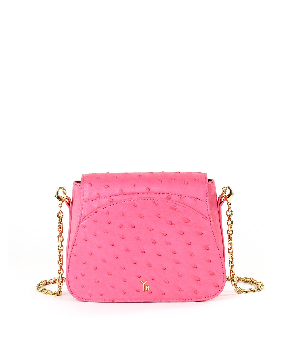 True Pink Ostrich Genuine Sustainable Crossbody Handbag Yara Bashoor Back Image Gold Chain padded shoulder