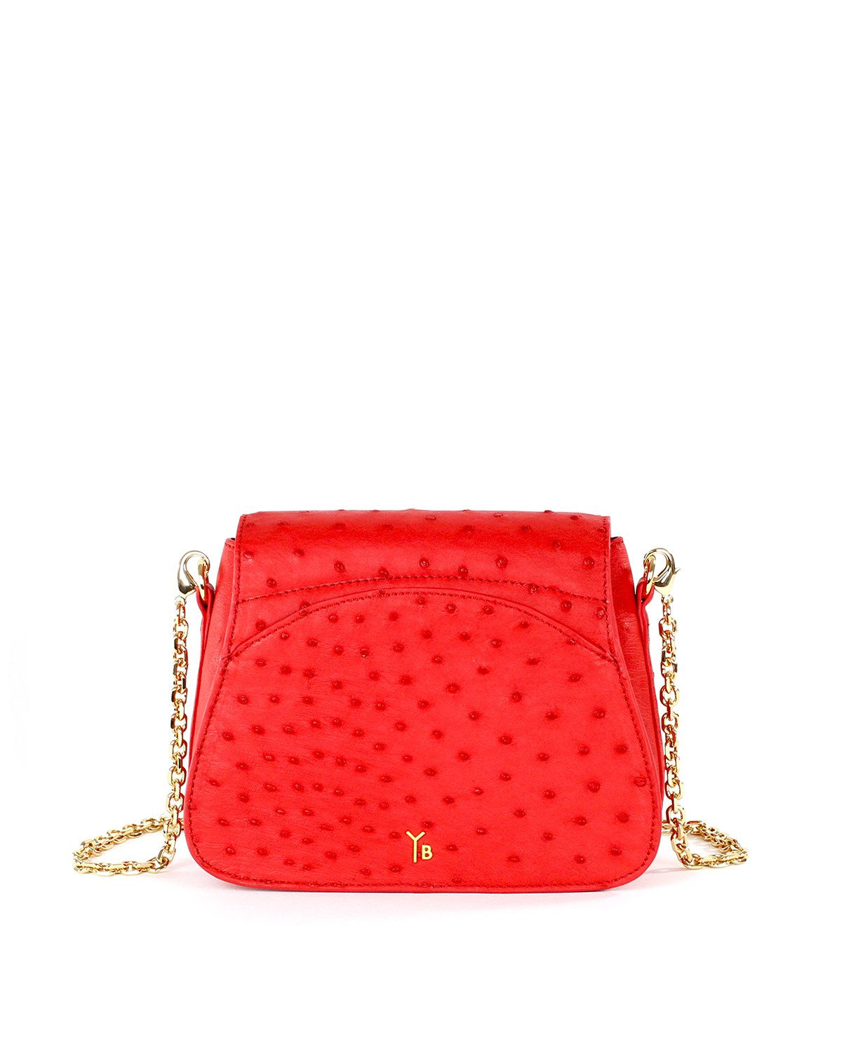 Genuine Ostrich Yara Bashoor Tomato Red Crossbody Back Image with Shoulder Pad and Chain Shoulder Strap
