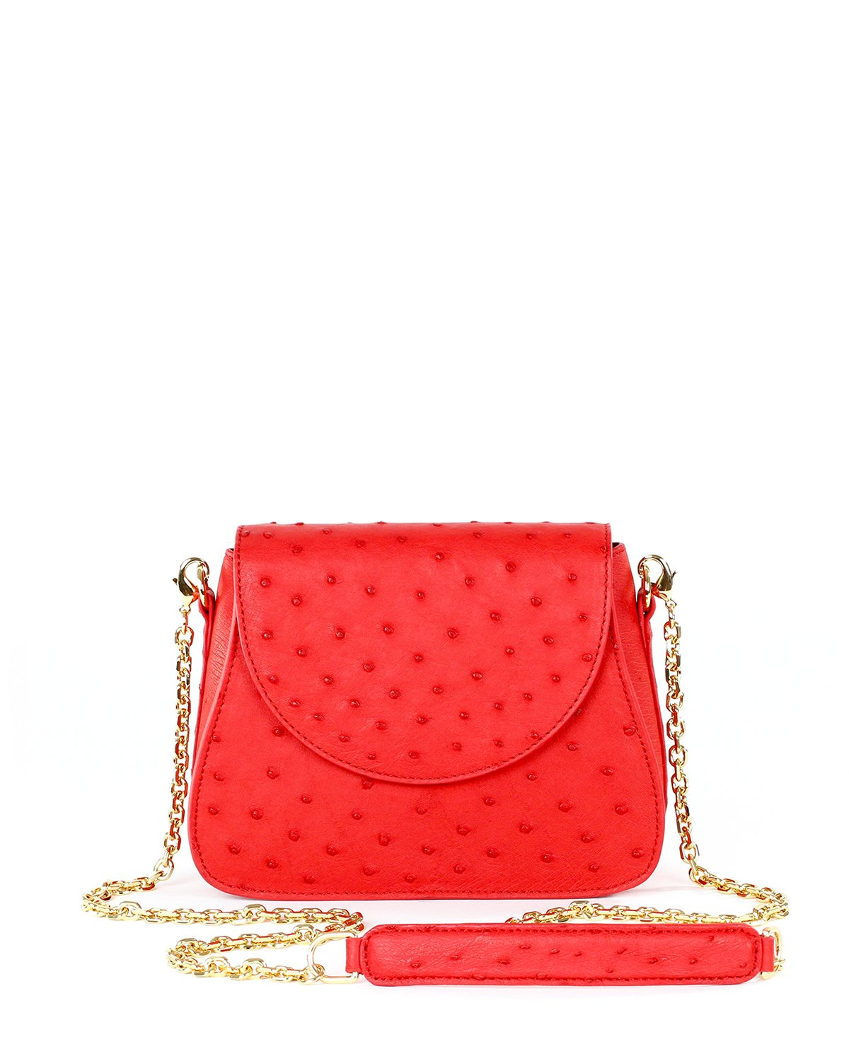 Genuine Ostrich Yara Bashoor Tomato Red Crossbody Front Image with Shoulder Pad and Chain Shoulder Strap