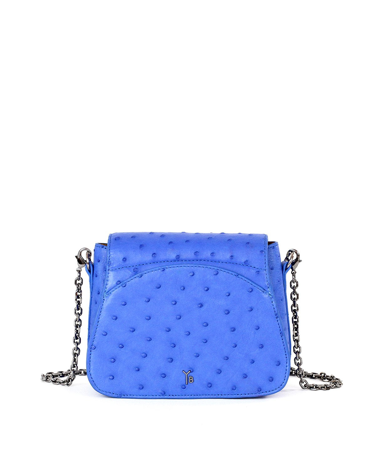 Royal Blue Genuine Ostrich Yara Bashoor Crossbody Back Image Back outside pocket curved with Shoulder Pad and Chain Shoulder Strap