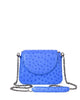 Royal Blue Genuine Ostrich Yara Bashoor Crossbody Front Image with Shoulder Pad and Chain Shoulder Strap