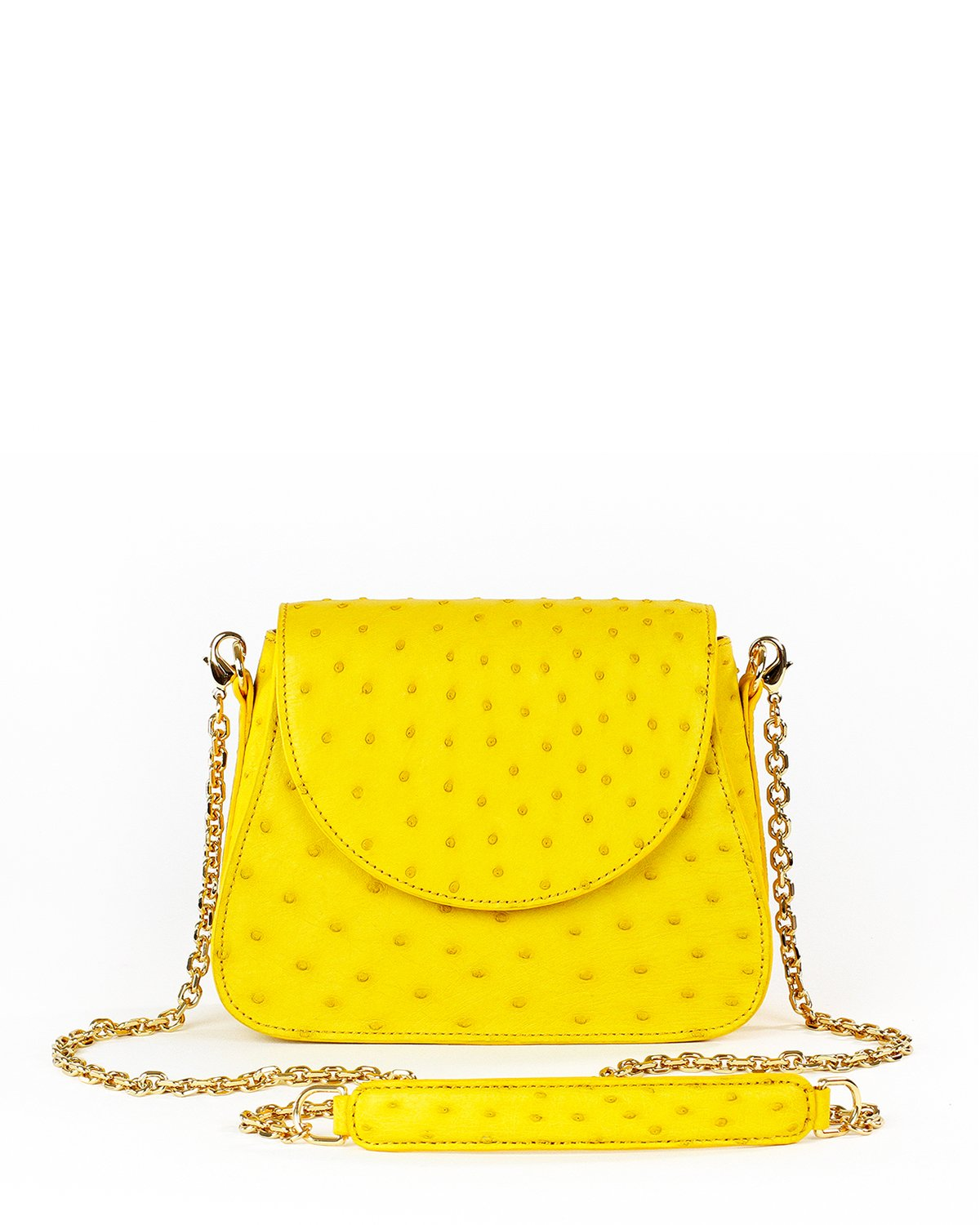 Ostrich Yara Bashoor Handbag Yellow Crossbody Front Image with Shoulder Pad and Chain Shoulder Strap