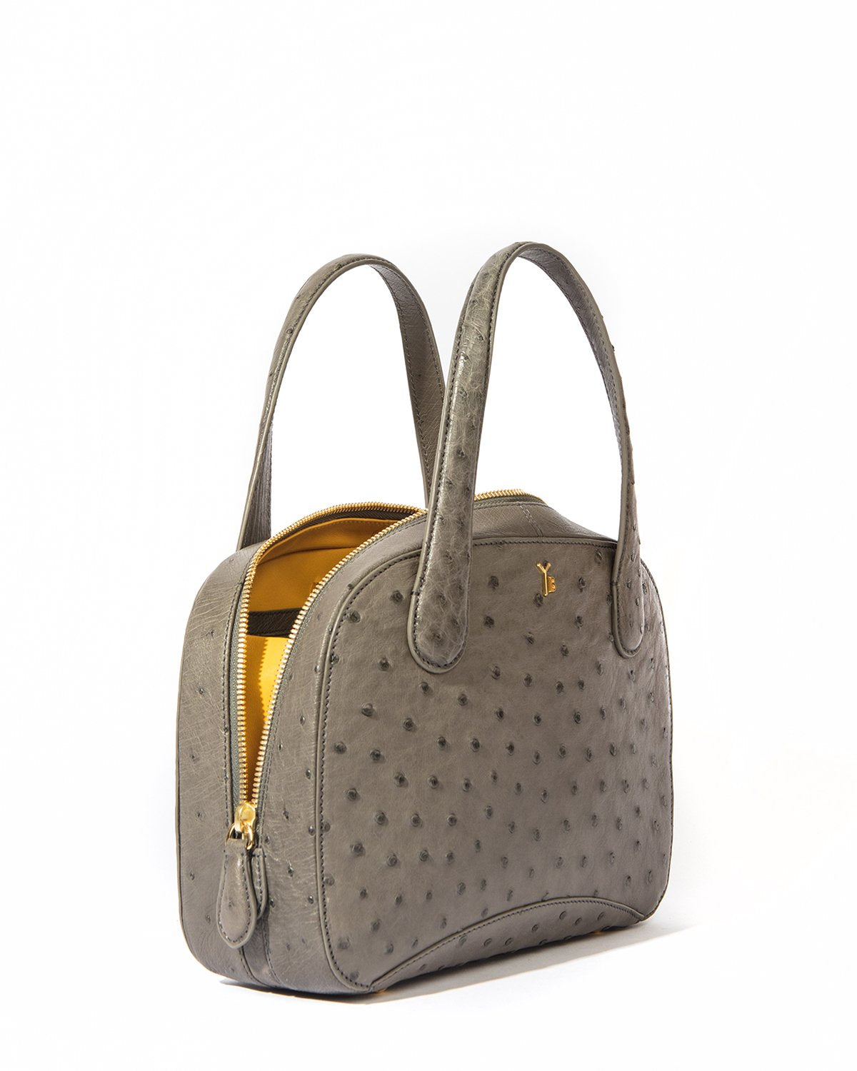 Brown Ostrich Tote Bag by Yara Bashoor Angle Image Yellow Interior