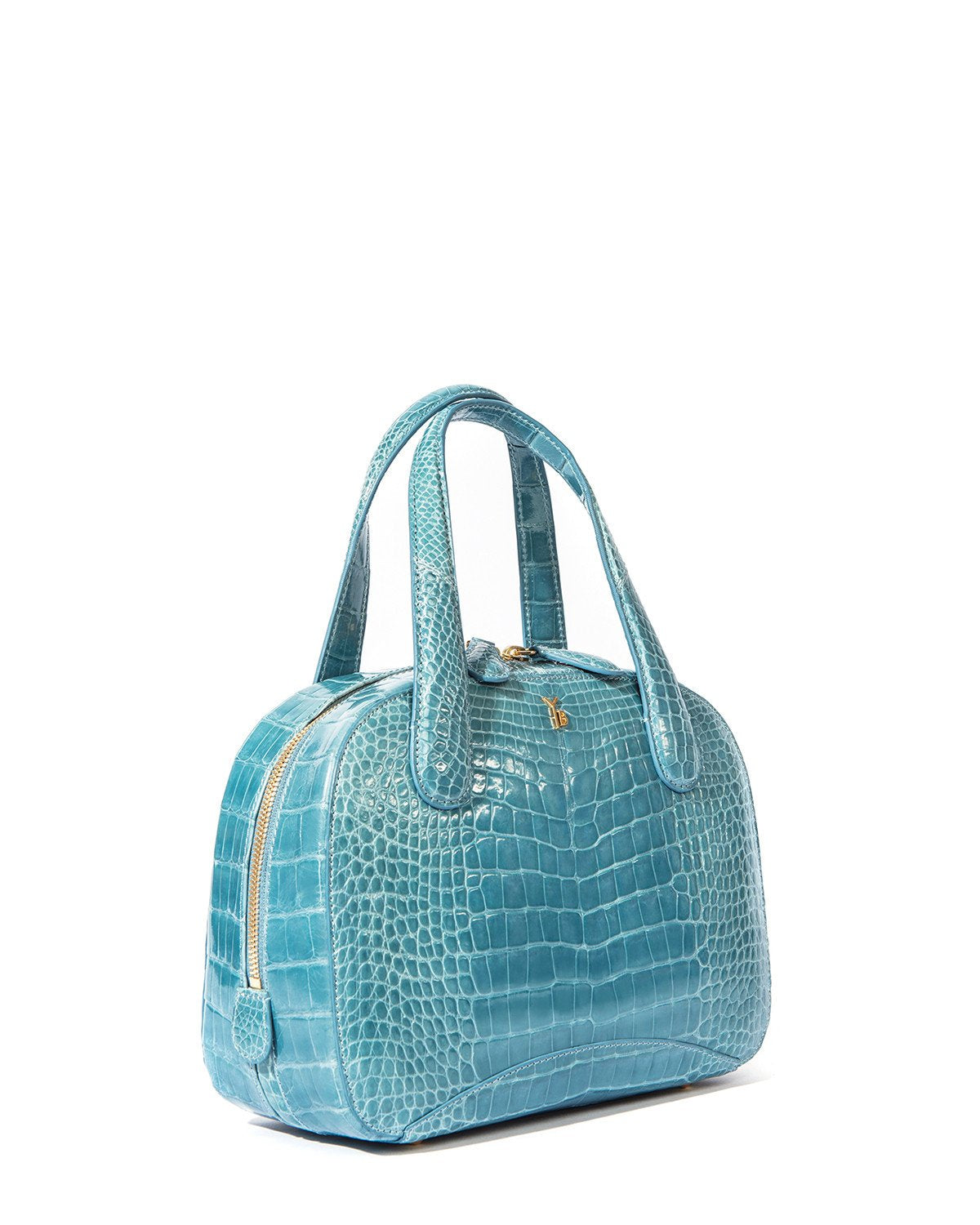 Genuine American Alligator Sky Blue Pristine Angle View Double Zipper Charles S Tote Style