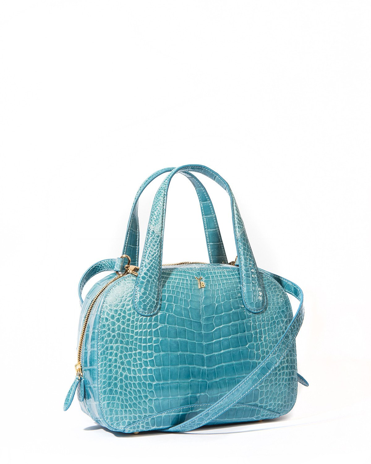 Genuine American Alligator Sky Blue Pristine Angle View with matching Long Shoulder Strap Charles S Tote Style