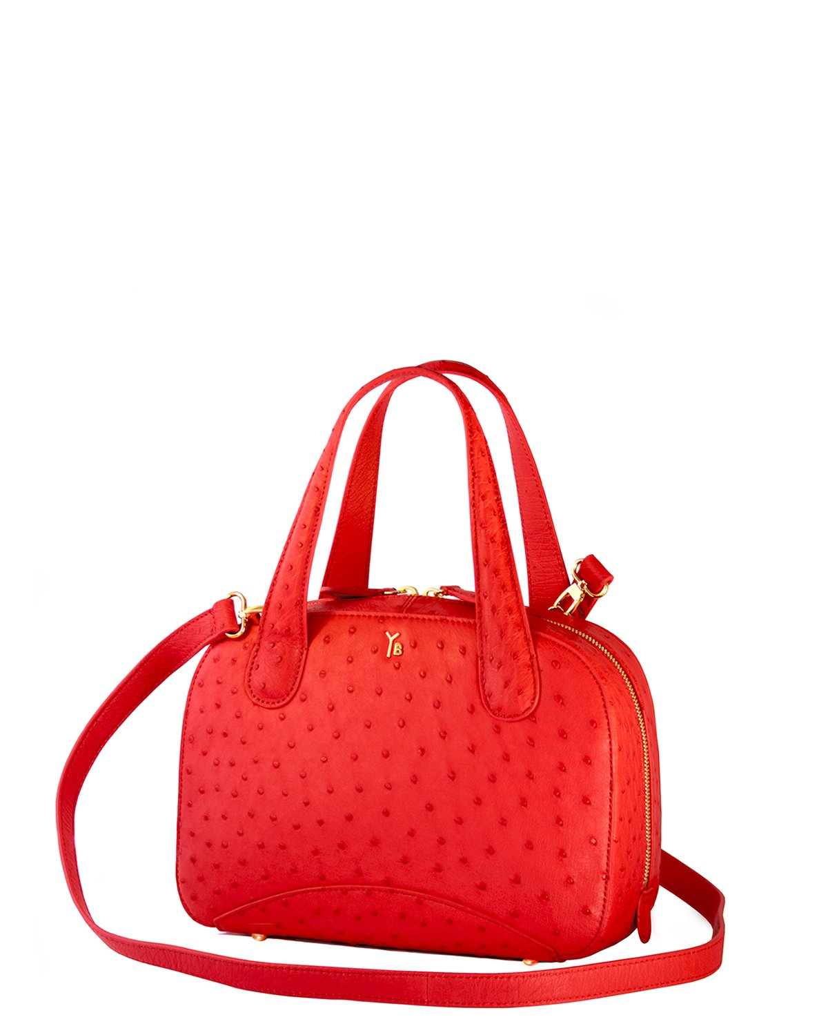 Bright Tomato Red colored Ostrich Genuine Sustainable Smallish Tote Handbag Yara Bashoor Angle View with Long Strap YB Logo