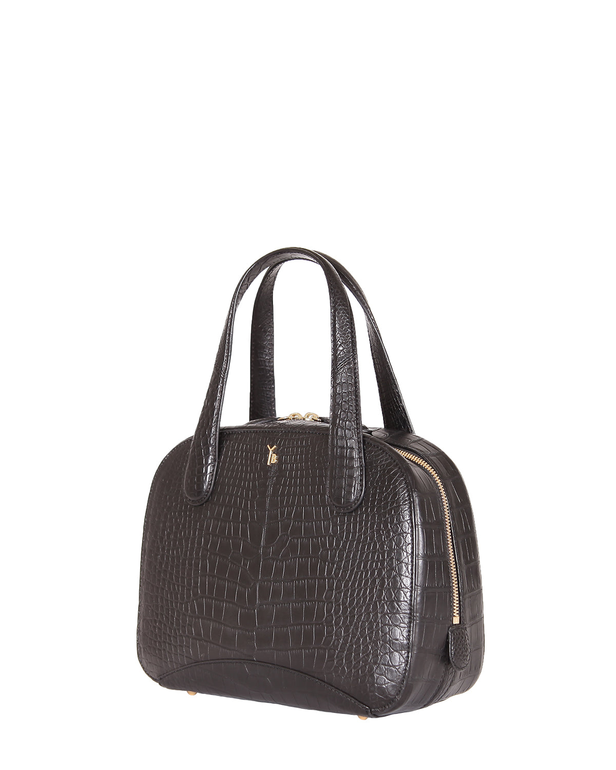 Yara Bashoor Adam Tote Handbag Black Yellow Gold Genuine American Alligator Angle View