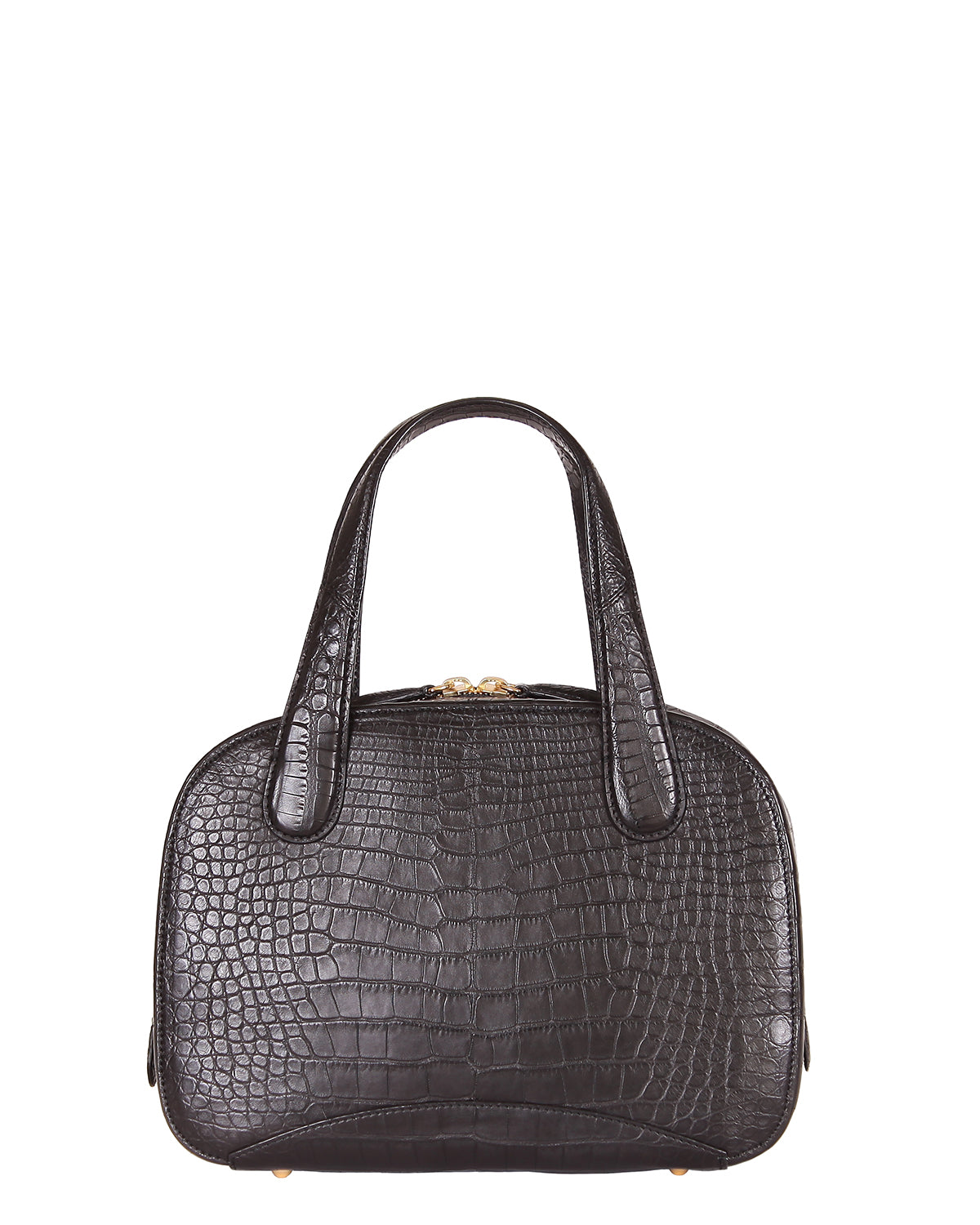 Yara Bashoor Adam Tote Handbag Black Yellow Gold Genuine American Alligator Back View
