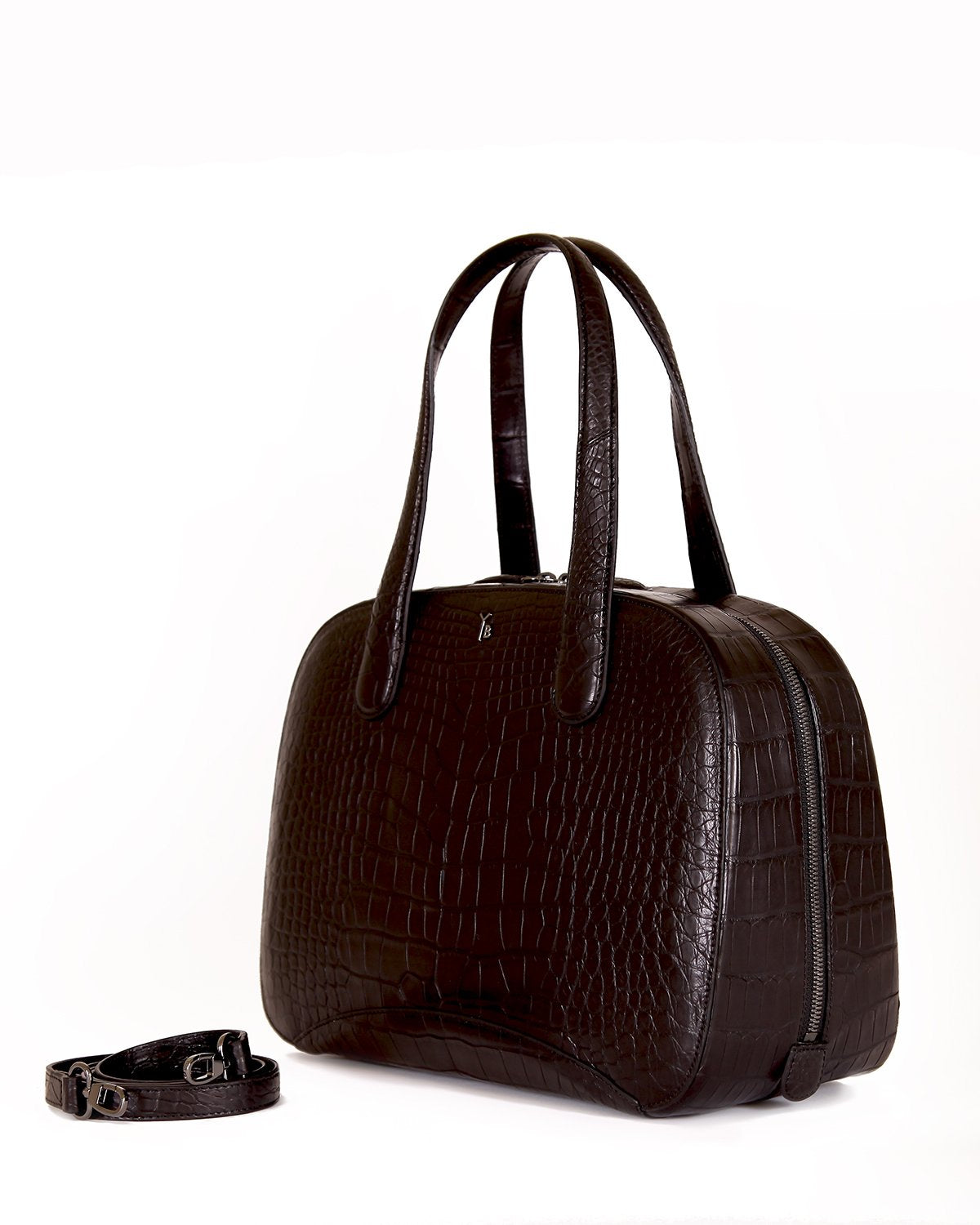 Black Matte Angle View of American Alligator Crocodile Bag with Strap