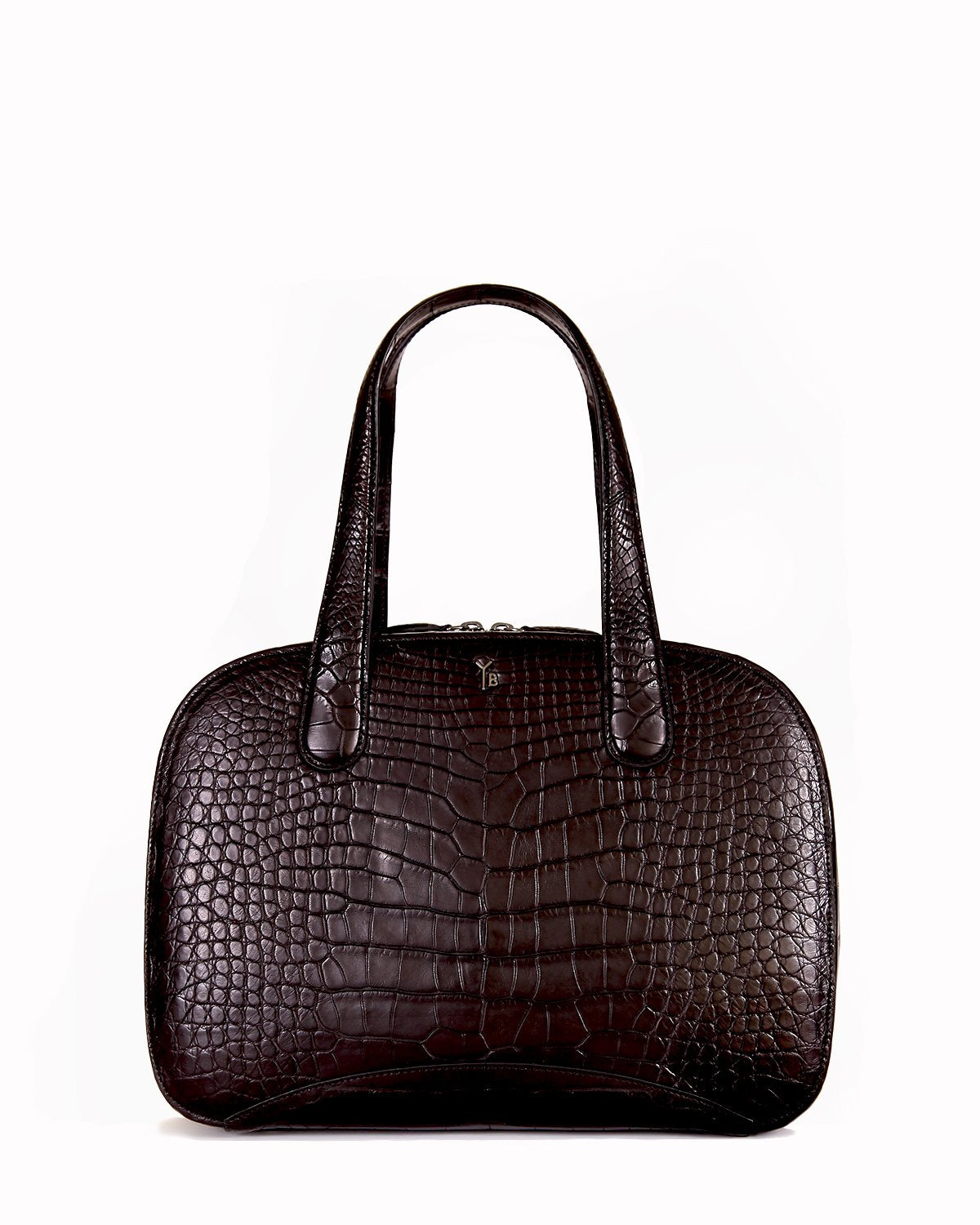 Black Genuine American Alligator Croco Tote Front