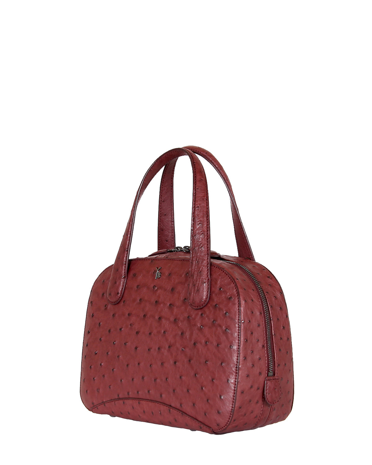 Yara Bashoor Charles Tote Handbag Red Gunmetal Silver Genuine South African Ostrich Angle View