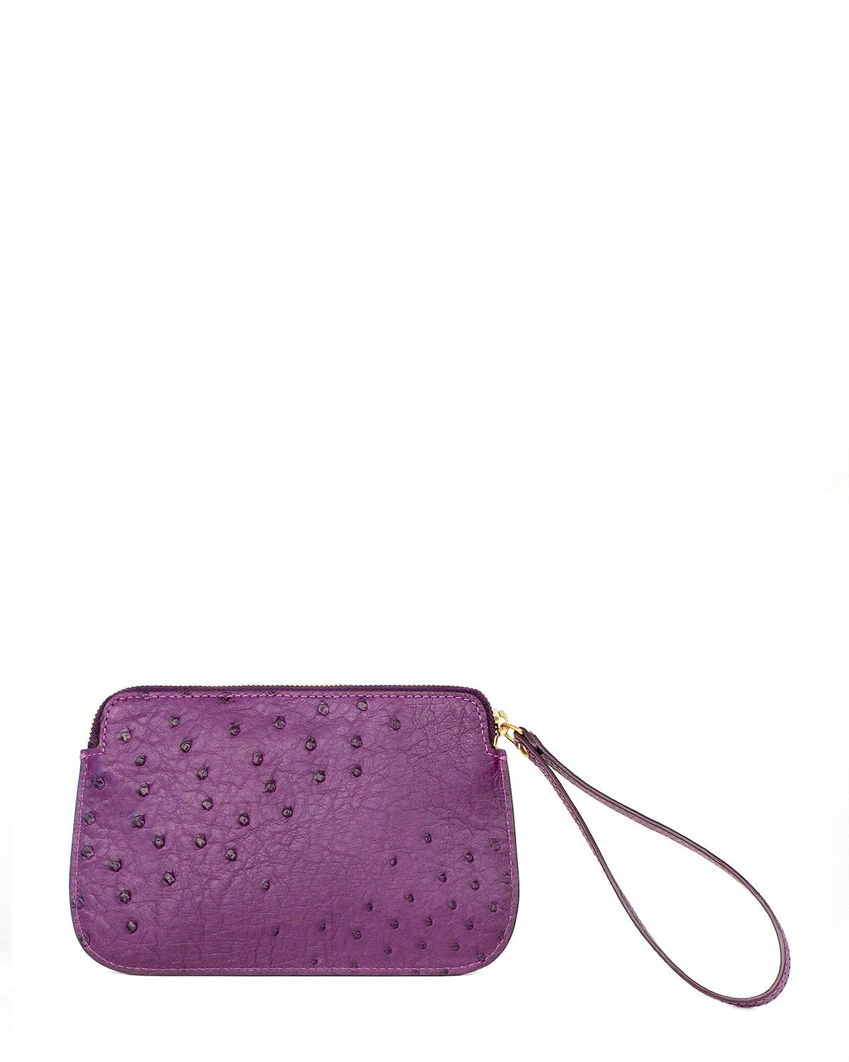 Ostrich Genuine Pouch with Wrislet Purple Yara Bashoor Back View