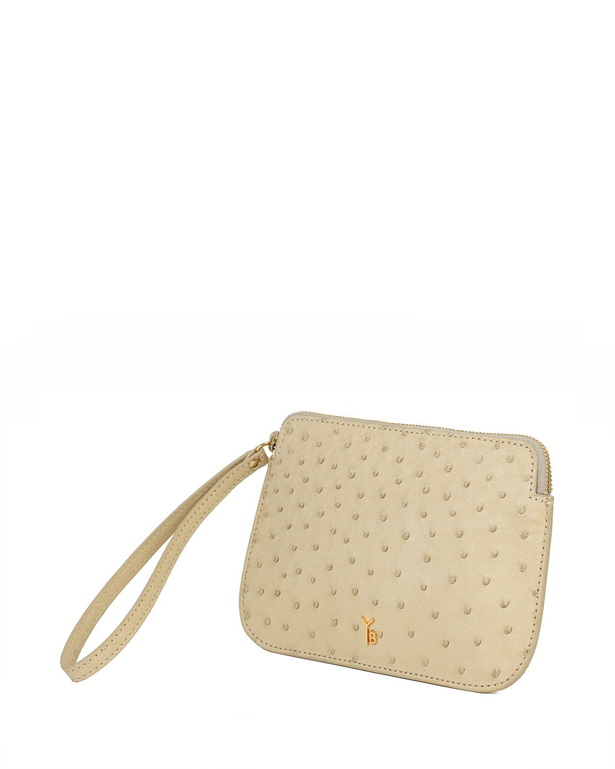 Ostrich Genuine Pouch with Wrislet Beige Yara Bashoor Angle View