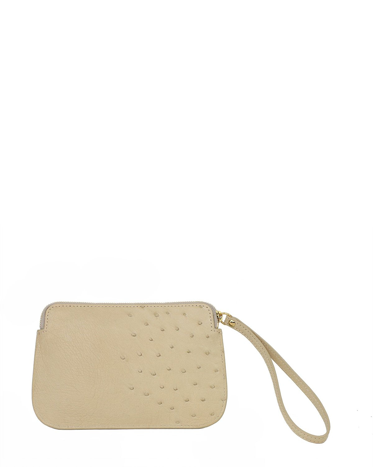 Ostrich Genuine Pouch with Wrislet Beige Yara Bashoor Back View