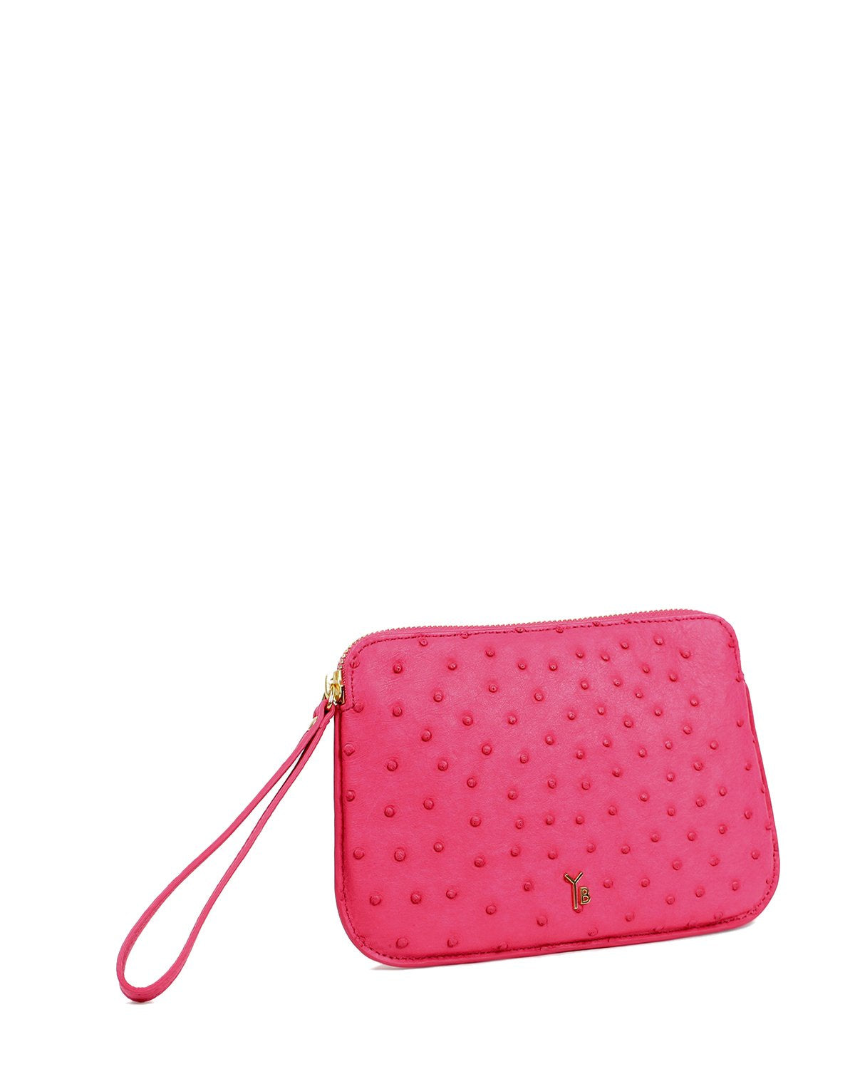 Fuchsia Pink Wrislet Pouch Genuine Ostrich Top Zipper Yara Bashoor Angle View