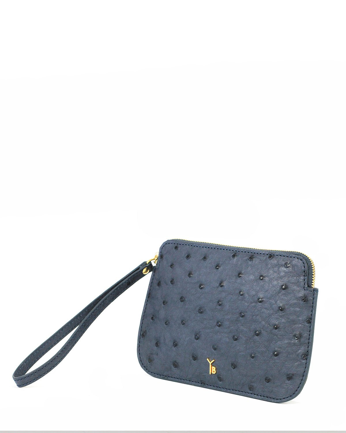 Ostrich Genuine Pouch with Wrislet Jean Blue Yara Bashoor Angle View