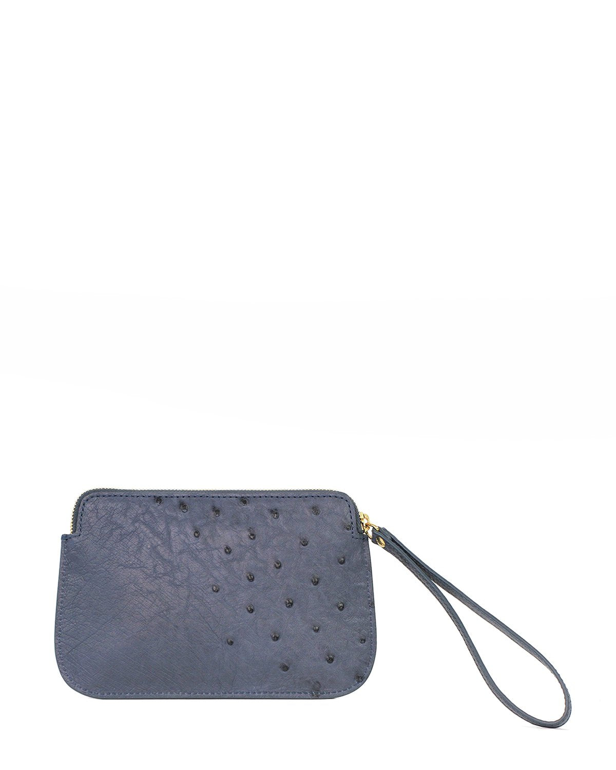 Ostrich Genuine Pouch with Wrislet Jean Blue Yara Bashoor Back View