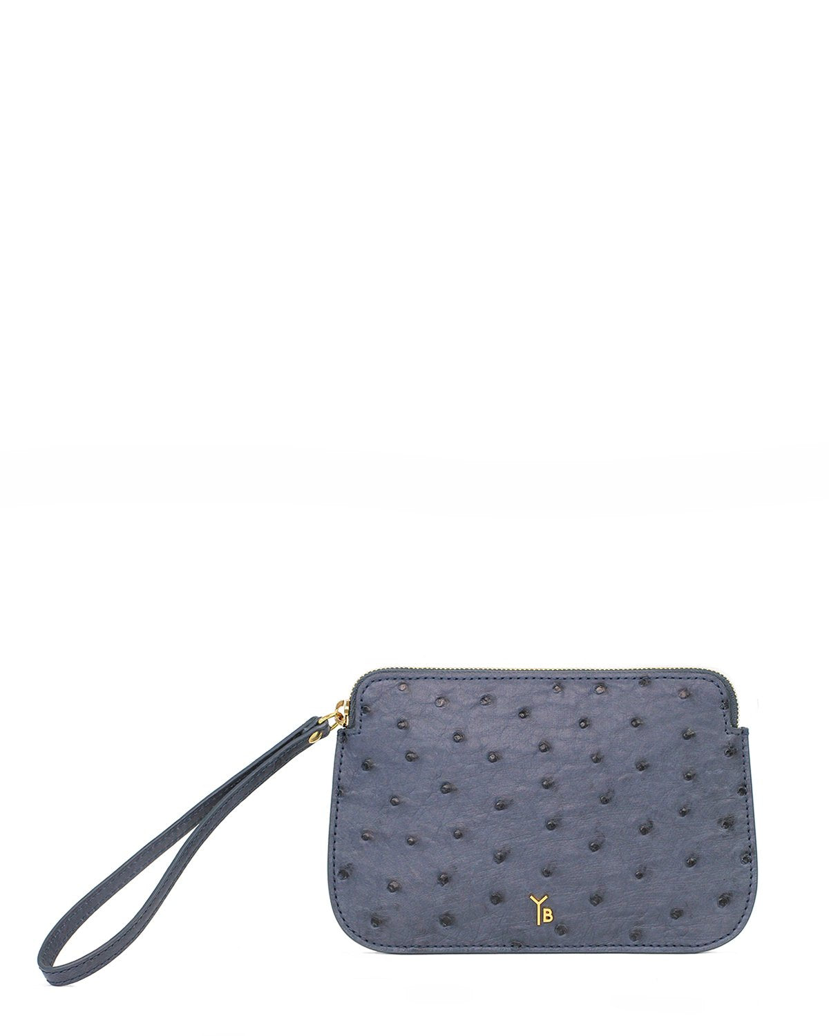 Ostrich Genuine Pouch with Wrislet Jean Blue Yara Bashoor