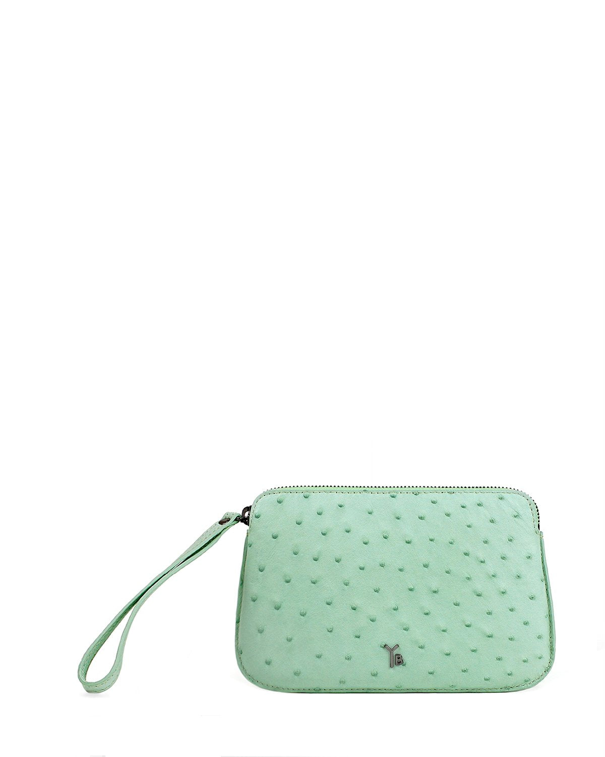 Ostrich Genuine Pouch with Wrislet Mint Yara Bashoor
