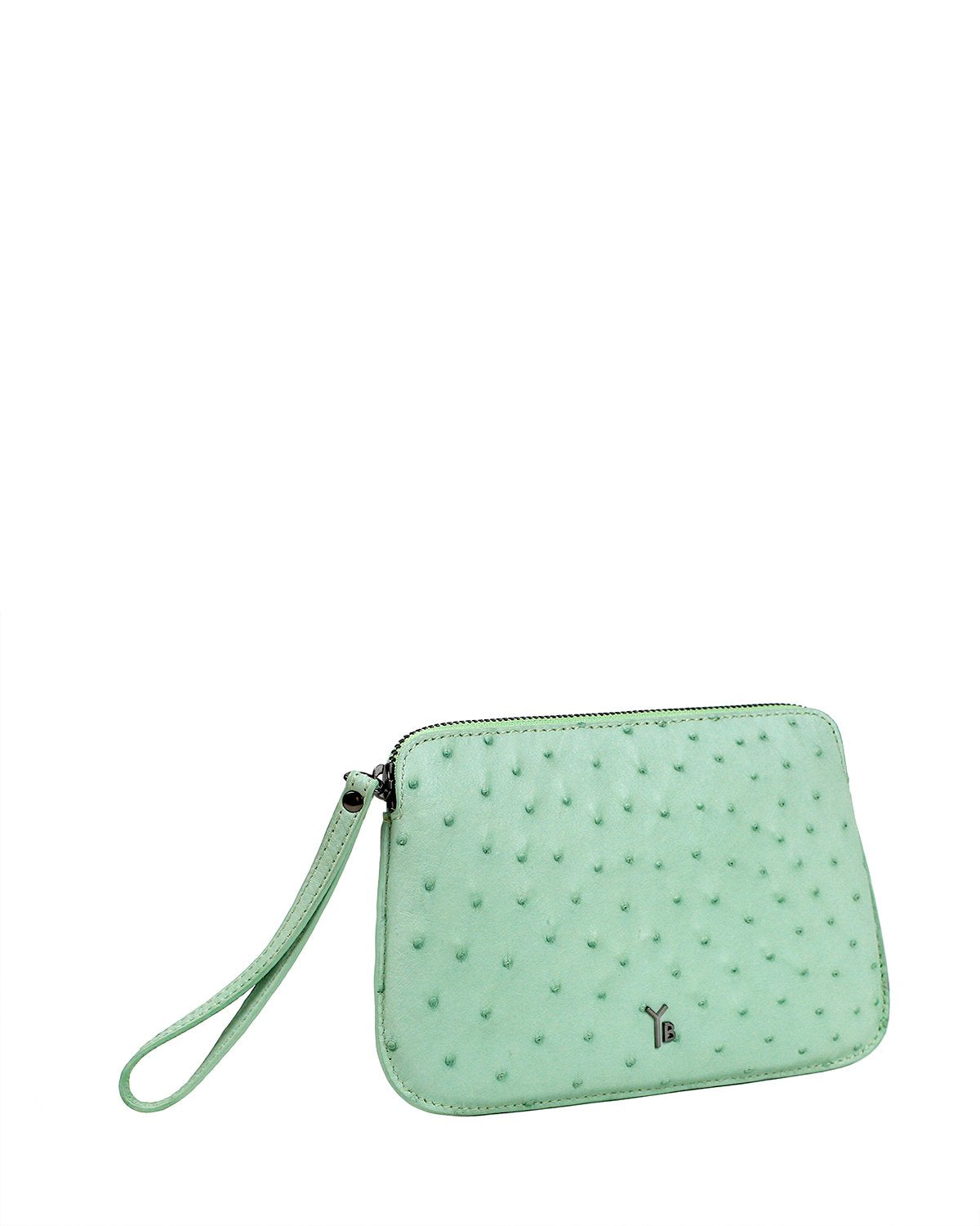 Ostrich Genuine Pouch with Wrislet Mint Yara Bashoor Angle View