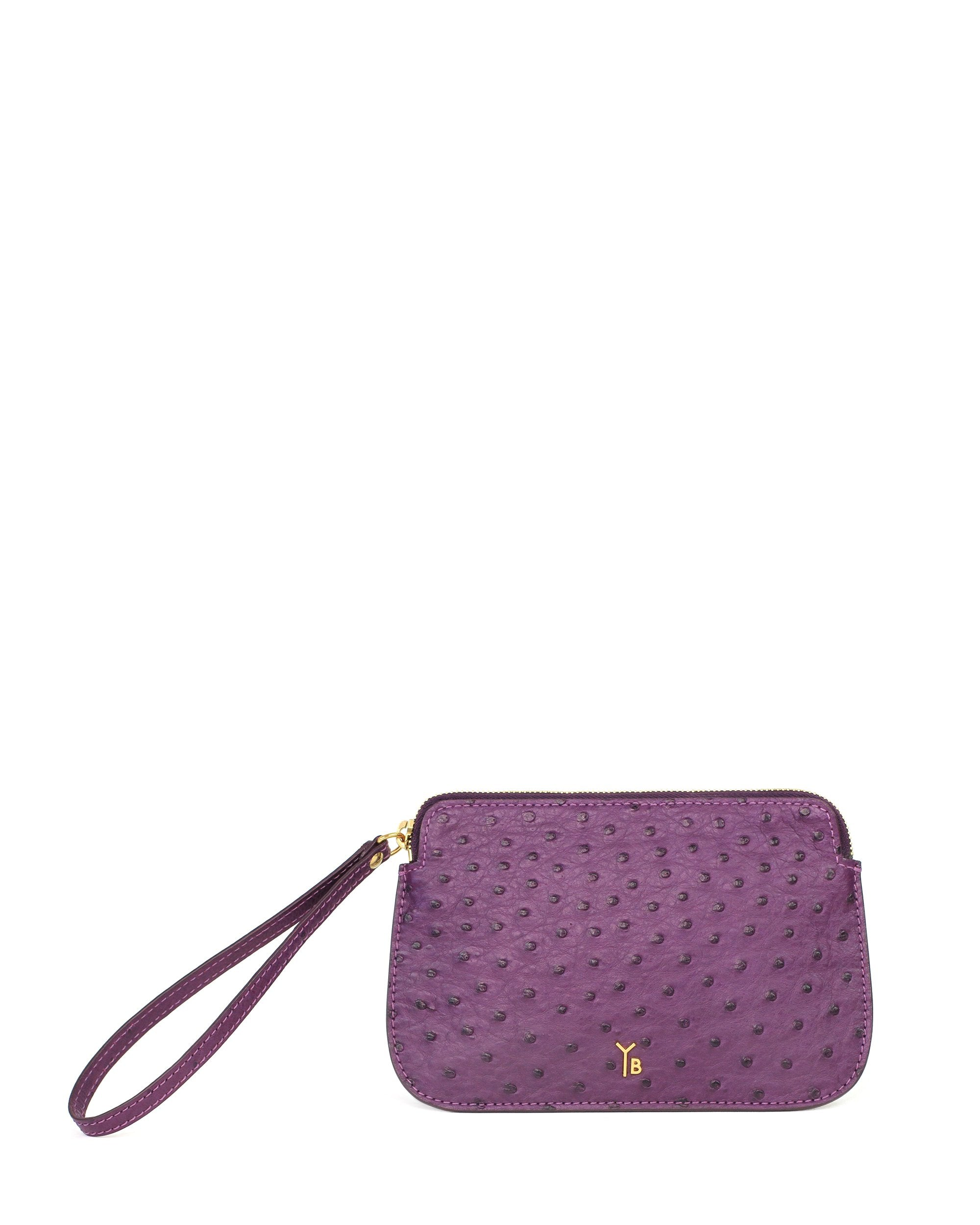 Ostrich Genuine Pouch with Wrislet Purple Yara Bashoor