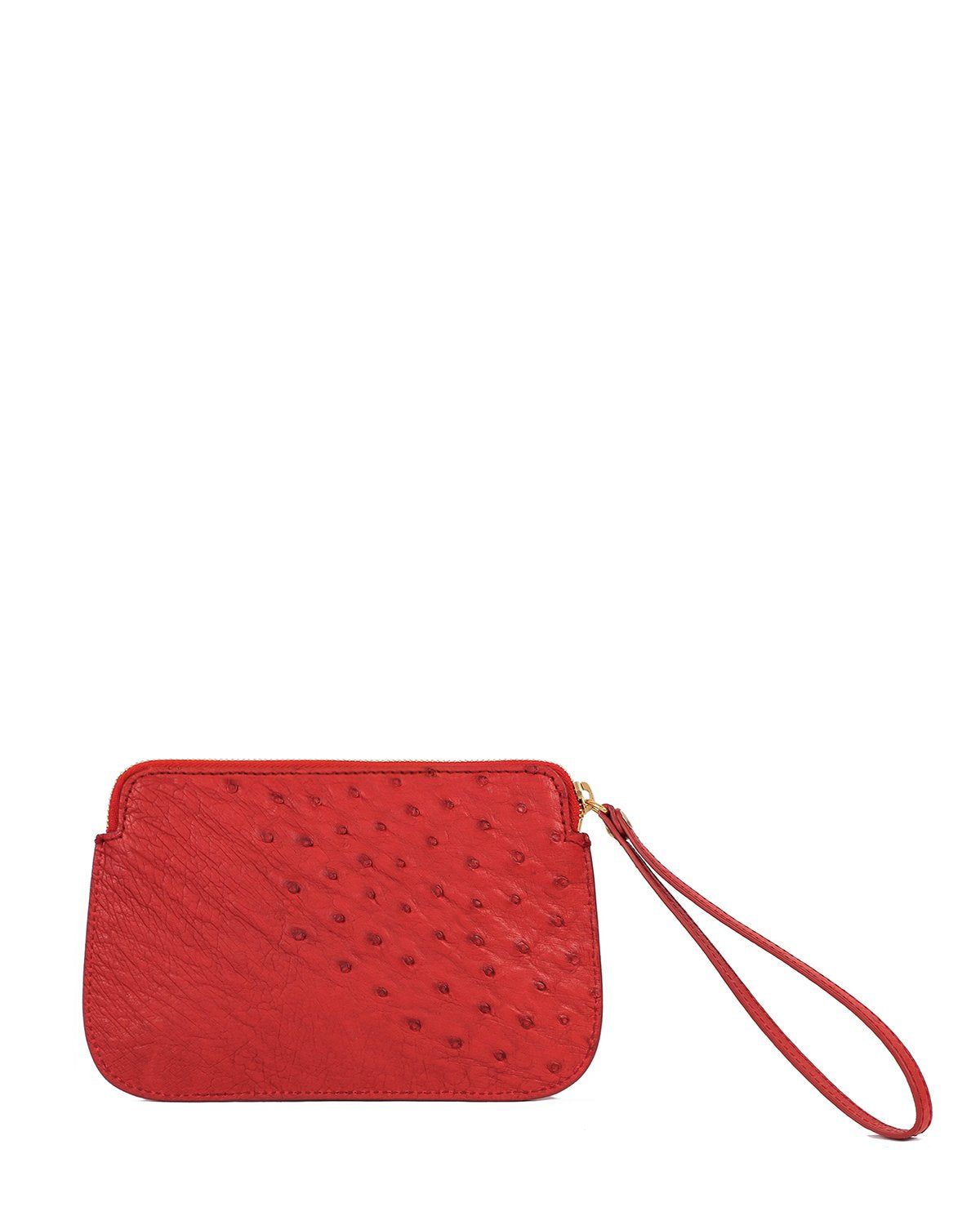 Ostrich Genuine Pouch with Wrislet Red Yara Bashoor Back View
