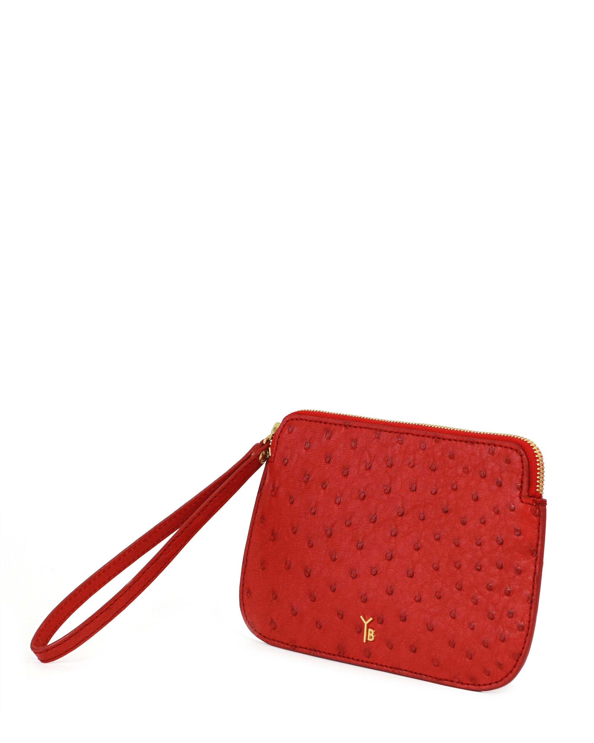 Ostrich Genuine Pouch with Wrislet Red Yara Bashoor Angle View