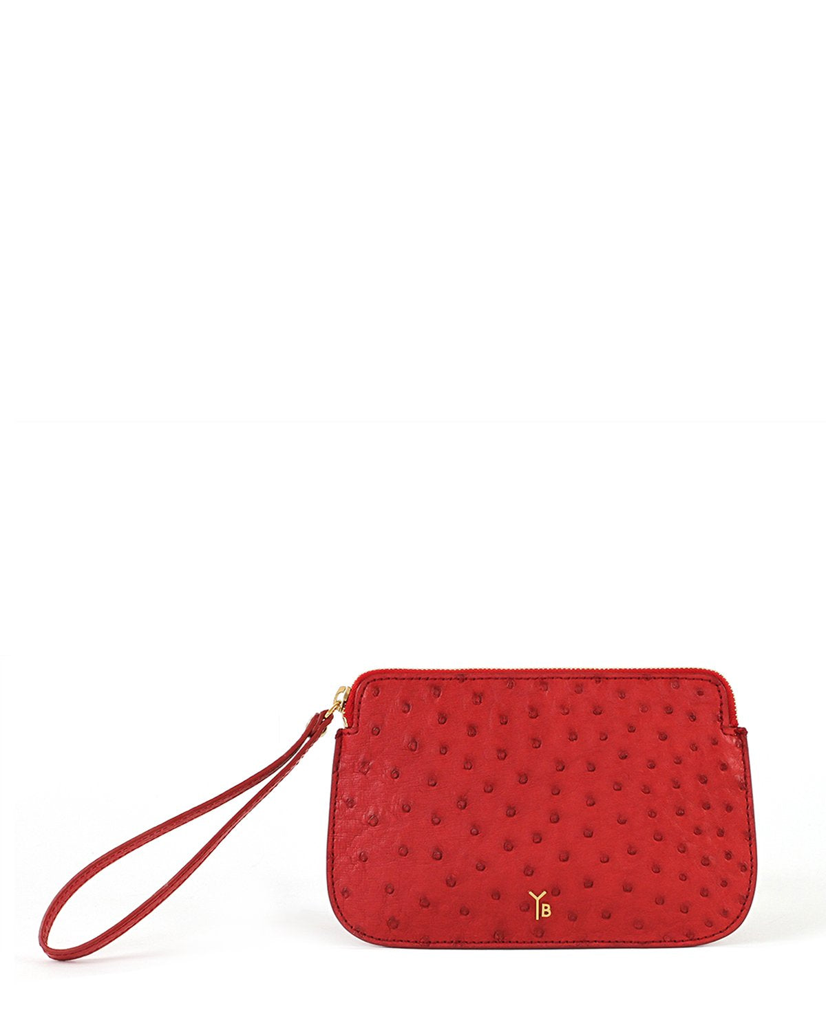 Ostrich Genuine Pouch with Wrislet Red Yara Bashoor