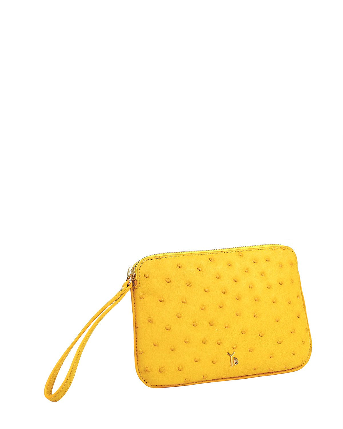 Ostrich Genuine Pouch with Wrislet Yellow Yara Bashoor Angle View
