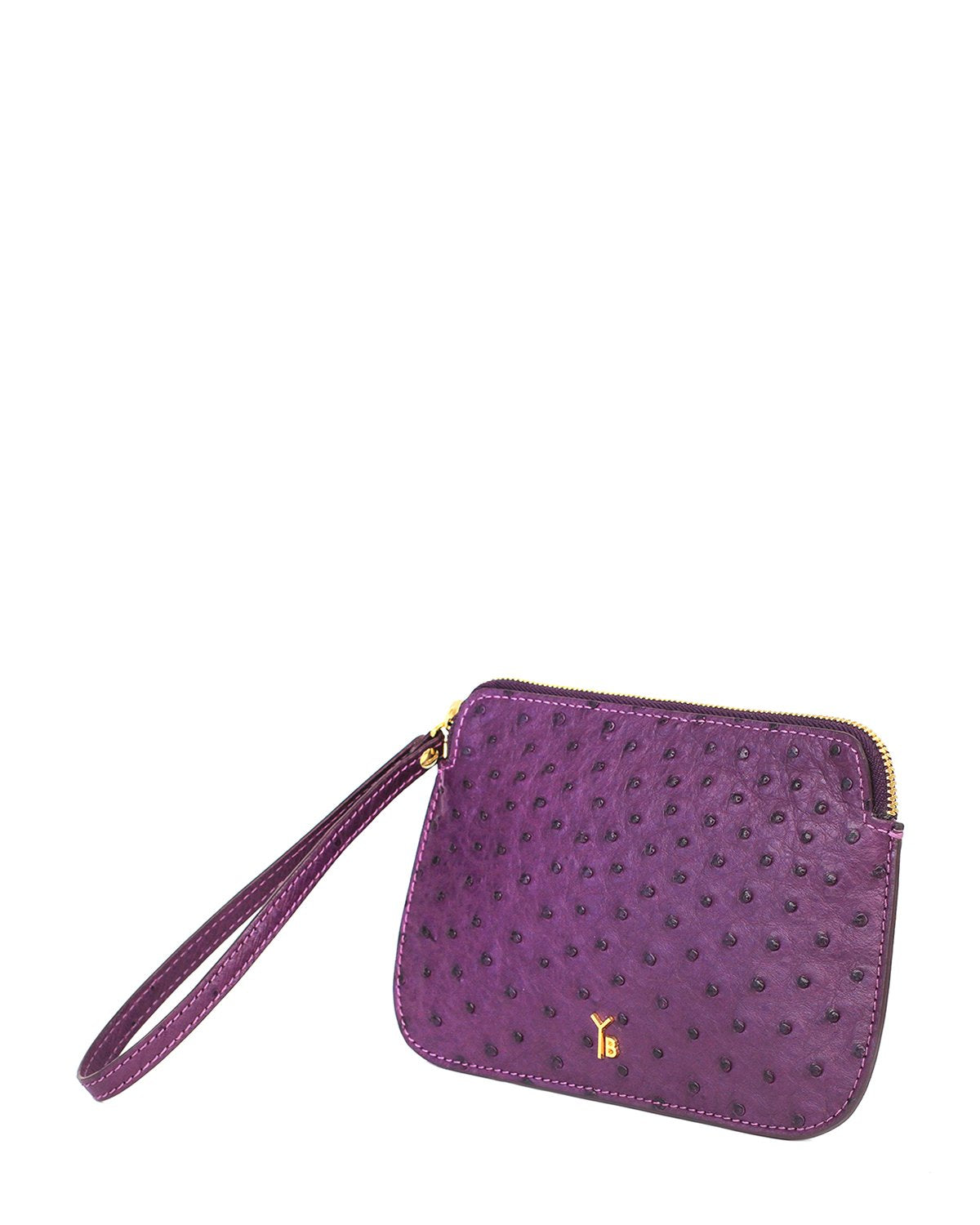 Ostrich Genuine Pouch with Wrislet Purple Yara Bashoor Angle View