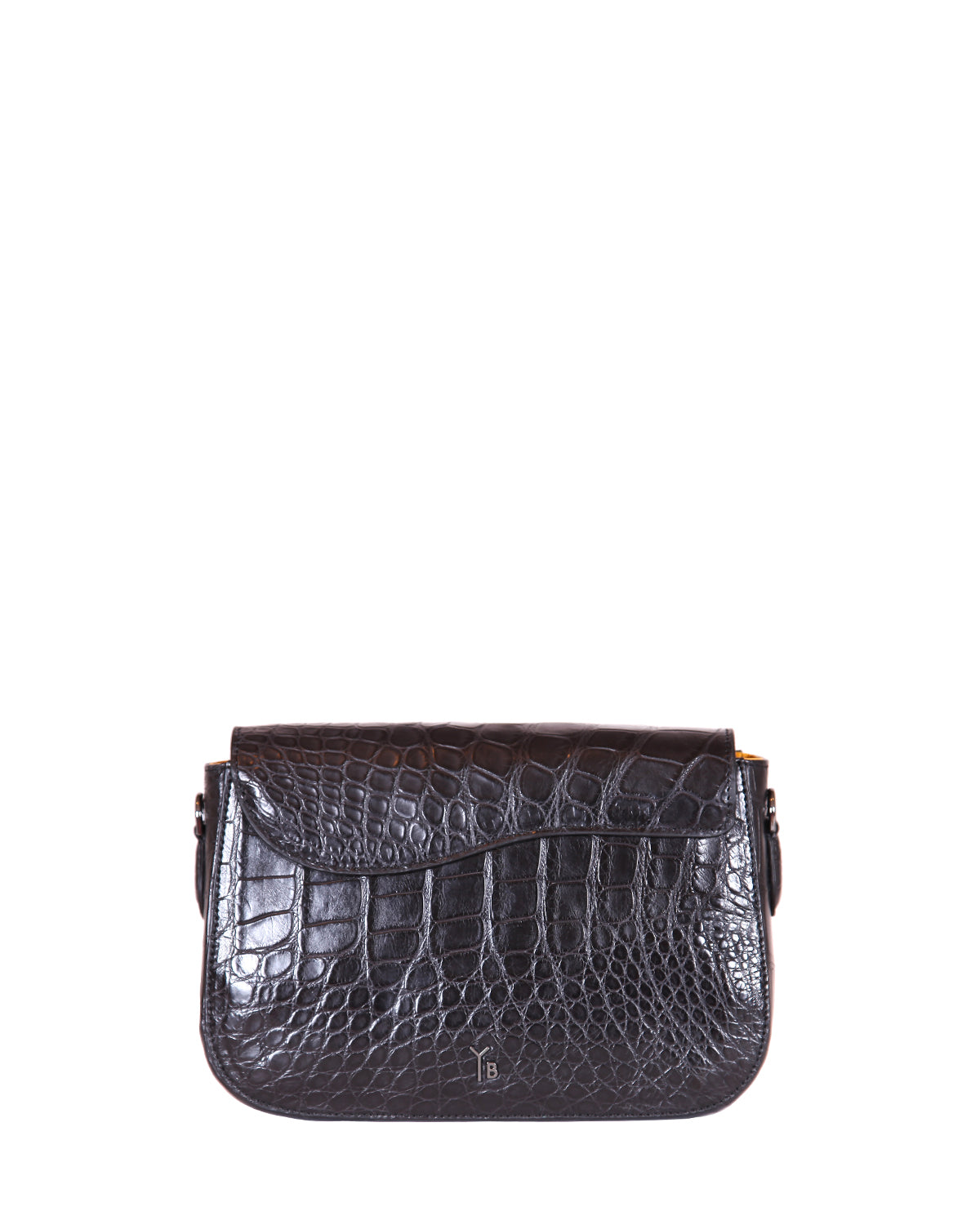 Yara Bashoor Edgar Shoulder Handbag Black Gunmetal Silver Genuine American Alligator Back View