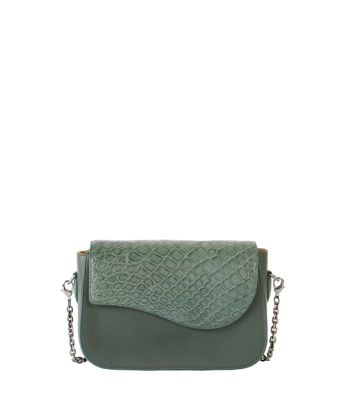 Dark Green Shoulder Crossbody with Assymetrical Alligator Skin Flap Front view
