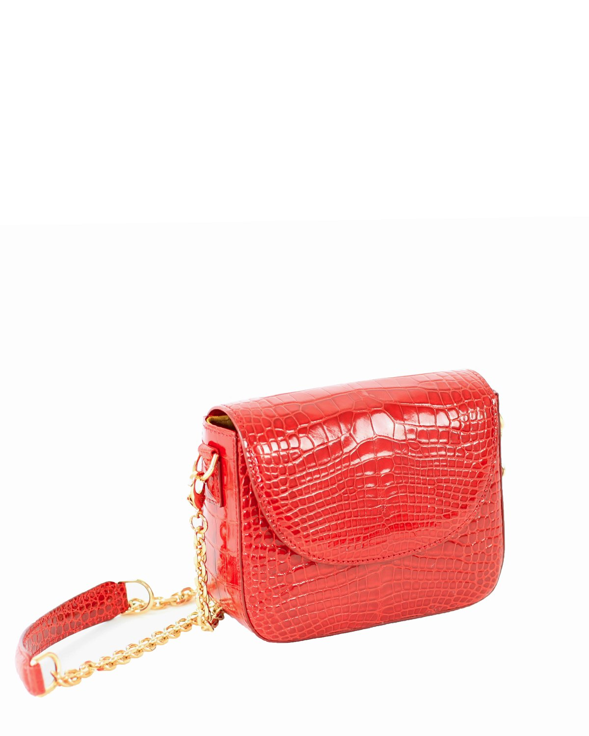 Genuine American Alligator Crocodile Crossbody Classic Shiny Red Yara Bashoor Angle View
