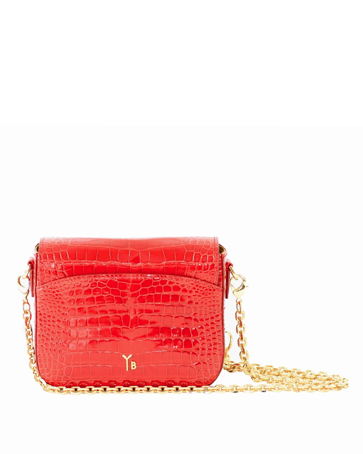 Genuine American Alligator Crocodile Crossbody Classic Shiny Red Yara Bashoor Back View