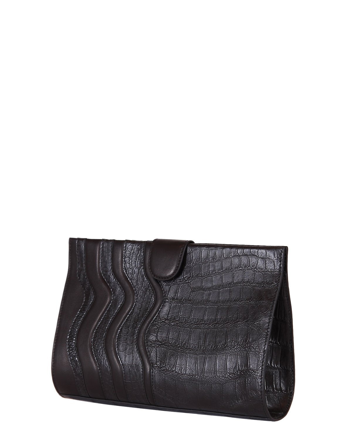 Black American Alligator Clutch with Lambskin Trims in black angle view comes with shoulder chain